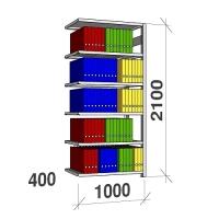 Arkivhylla följesektion 2100x1000x400 150kg/hyllplan,6 hyllor