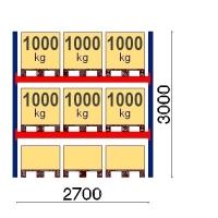 Pallställ startsektion 3000x2700 1000kg/9 pallar OPTIMA
