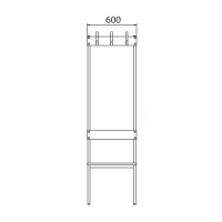 Double bench 1700x600x770 6 hook rail