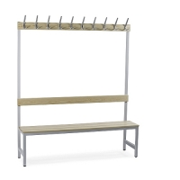 Single bench 1700x600x400 with 4 hook rail