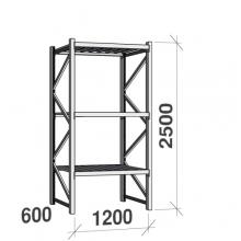 Lagerhylla startsektion 2500x1200x600 600kg/hyllplan,3 hyllor