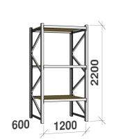 Lagerhylla startsektion 2200x1200x600 600kg/hyllplan,3 hyllor, spånskiva