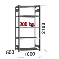 Starter bay 2100x1000x500 200kg/shelf,5 shelves