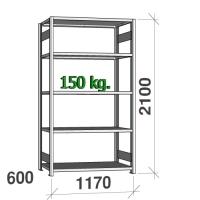 Lagerhylla startsektion 2100x1170x600 150kg/hyllplan,5 hyllor