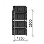 Däckställ startsektion 2500x1250x500, 4 hyllplan