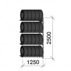 Däckställ följesektion 2500x1250x600, 4 hyllplan