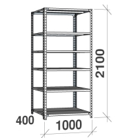 Metallhylla 2100x1000x400, 6 hyllor, 120kg/hyllplan, grå Gavel/Hyllplan galvad