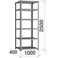 Angle shelf 2500x1000x400, 6 levels,120kg/level, gray upright/galv. shelves