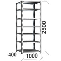 Angle shelf 2500x1000x400, 7 levels,120kg/level, gray upright/galv. shelves