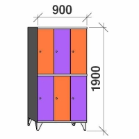 2-tier locker, 6 doors, 1900x900x545 mm