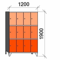 3-tier locker, 12 doors, 1900x1200x545 mm