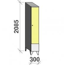 Skåp 1x300, 2085x300x545 kort dörr, sluttande topp
