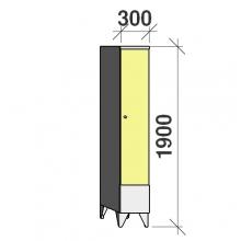 Klädskåp 1x300, 1900x300x545 , kort dörrar