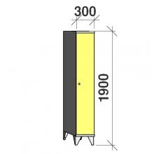 Skåp 1x300, 1900x300x545, lång dörrar