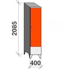 Skåp 1x400, 2085x400x545 kort dörr, sluttande topp