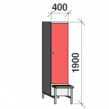Locker with a bench, 1x400 1900x400x830