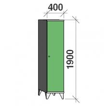Skåp 1x400, 1900x400x545 lång dörrar, sluttande topp, separationsvägg