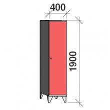 Skåp 1x400, 1900x400x545, lång dörrar