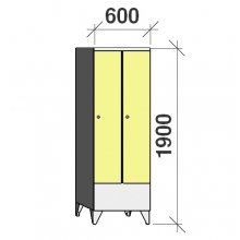 Klädskåp 2x300, 1900x600x545 , kort dörrar