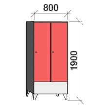 Klädskåp 2x400, 1900x800x545 , kort dörrar