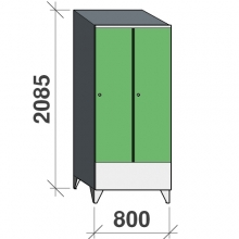 Locker 2x400, 2085x800x545 short door, sep. wall, sloping top