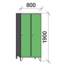 Skåp 2x400, 1900x800x545 lång dörrar, sluttande topp, separationsvägg