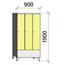 Locker 3x300, 1900x900x545 short door