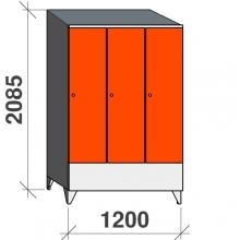 Skåp 3x400, 2085x1200x545 kort dörr, sluttande topp
