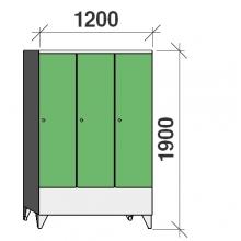 Locker 3x400, 1900x1200x545, short door, sep. wall