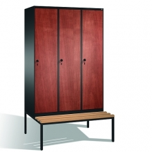 3-door locker with bench, 2090x1200x815, MDF doors