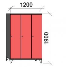Skåp 3x400, 1900x1200x545, lång dörrar