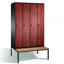 4-door locker with bench, 2090x1190x815, MDF doors