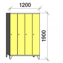 Skåp 4x300, 1900x1200x545, lång dörrar