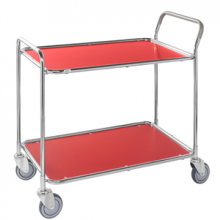 Shelf trolley, galv/red 1020x555x965mm, 250kg