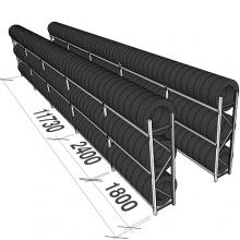 Däckställ, komplett för en 40-fots container, 312 däck
