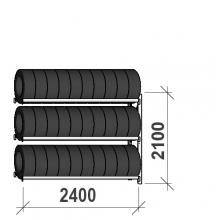 Däckställ följesektion 2100x2400x500, 3 hyllplan,300kg/plan