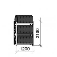Däckställ startsektion 2100x1200x500, 3 hyllplan,600kg/plan