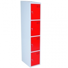Storage locker, red/grey 4 compartments 1920x350x550