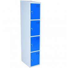 Storage locker, blue/grey 4 compartments 1920x350x550