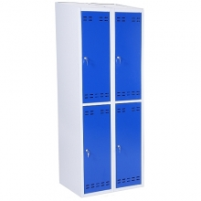 Clothing cabinet, blue/grey 4 doors 1920x700x550