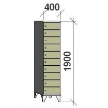 Klädskåp, 10 dörrar, 1900x400x545 mm