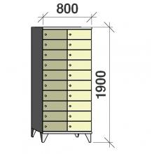 10-Tier locker, 20 doors, 1900x800x545 mm