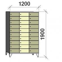 10-Tier locker, 30 doors, 1900x1200x545 mm