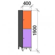Klädskåp, 2 dörrar, 1900x400x545 mm