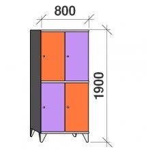 2-Tier locker, 4 doors, 1900x800x545 mm