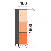 3-Tier locker, 3 doors, 1900x400x545 mm
