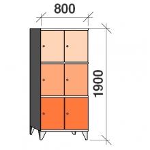 3-Tier locker, 6 doors, 1900x800x545 mm