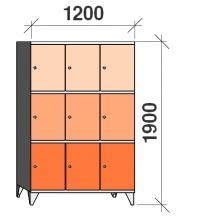 3-Tier locker, 9 doors, 1900x1200x545 mm