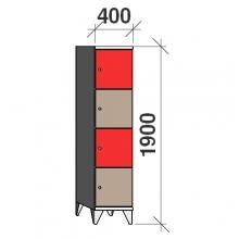 4-Tier locker, 4 doors, 1900x400x545 mm