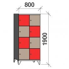 Klädskåp, 8 dörrar, 1900x800x545 mm